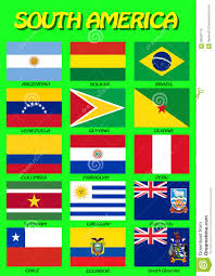 Latin American Flags Set Of Flags Of South American Countries Vector Illustration