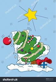 cartoon illustration christmas tree bent over stock vector