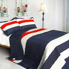 Navy Quilted Coverlet Red White Quilt Set Stripe Navy Blue Red White Striped Teen