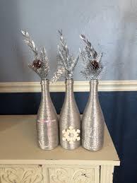 silver wine bottles metallic silver christmas wine bottle centerpiece that spells