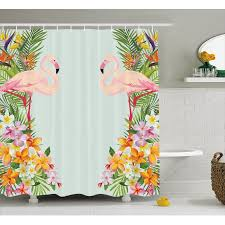 Zebra Print Bathroom Set Walmart Floral Shower Curtain Flamingo Birds And Tropical Flowers Exotic