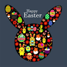 easter template design with rabbit head and symbols free vector in