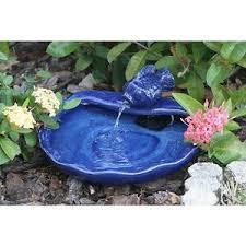 solar water fountain ceramic koi bird bath garden patio flower bed
