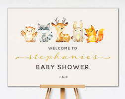 baby shower welcome sign woodland baby shower etsy