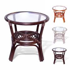 amazon com rattan wicker round accent end table with glass dark