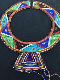 african maasai wedding beaded kenya free trade necklace art h