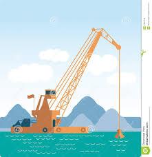 Modern Style Flat Huge Crane Barge Industrial Ship Stock Vector
