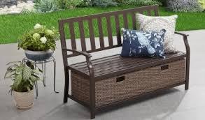 Patio Furniture Storage Bench Camrose Farmhouse Storage Bench With Wicker Baskets Outdoor Room