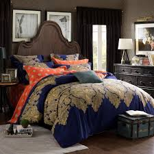 Paisley Comforter Sets Full Navy Blue Coral And Gold Vintage Tribal Print Paisley Park