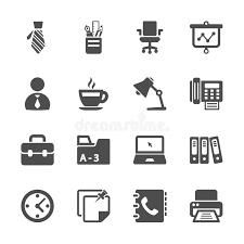 icone bureau ensemble d icône de travail de bureau vecteur eps10 photo stock
