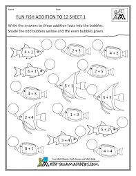 homeschool math worksheet fun addition to 12 fish 1 first grade