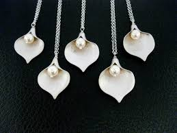 bridesmaid jewelry gifts 5 calla necklaces sterling silver bridesmaid gifts bridesma