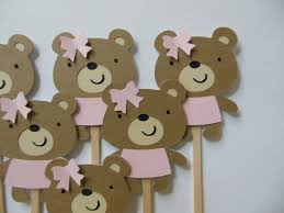teddy decorations teddy cupcake toppers girl birthday decorations girl baby
