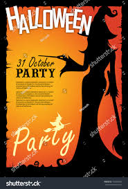 halloween party poster happy holiday silhouette stock vector