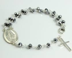 rosary bracelets sterling silver gunmetal rosary bracelet cross jewelry