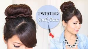 Easy Dressy Hairstyles For Long Hair by Twisted Sock Bun Updo Hairstyle Long Hair Tutorial Youtube