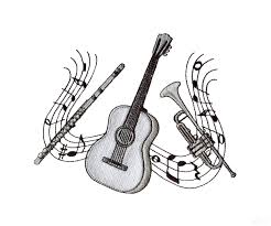 quote about music guitar trumpet and flute embroidery design