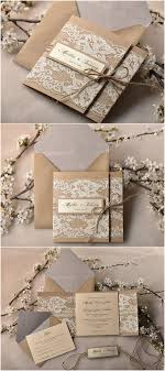 rustic wedding invitation kits pocket fold rustic recycling paper lace wedding invites kits