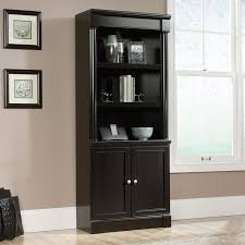 Bookcase With Doors Black Sauder Palladia Library Bookcase With Doors Wind Oak Hayneedle