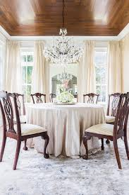 Pink Chandelier Burleson Rosenheck French Dining Room With Wood Concentric Ceiling