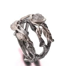 leaf engagement ring twig and leaf engagement ring 18k white gold diamond