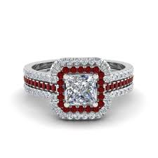 square cut halo engagement rings princess cut square halo engagement ring guard with ruby