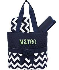 personalized bag navy blue chevron quilted monogrammed