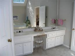 double sink bathroom vanity with makeup area in master bath the