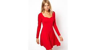 asos skater dress with sweetheart neck and long sleeve in red lyst
