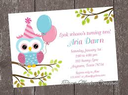 pink and blue owl birthday invitations