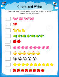 kids worksheet with counting exercises count and write the
