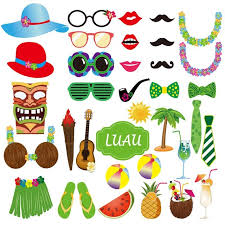 luau party 36pcs summer party photo booth props kit diy luau party supplies for