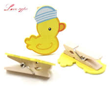 duck decorations home 20pcs 35mm cartoon duck wooden clips photo clips diy craft home