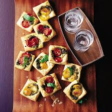 canap recipe pastry squares with goat s cheese pesto and tomato recipe
