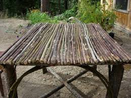 tables made from logs logs and sticks outdoor table made with douglas fir and willow