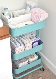 rolling baby changing table convert an ikea rolling cart to changing station storage for diapers