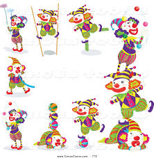 circus clipart of a border of clowns doing stunts by graphics rf