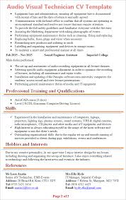 audio visual technician cv template tips and download cv plaza