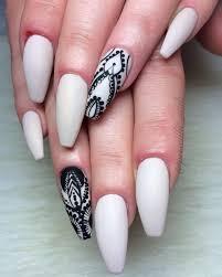 white matte black lace long coffin nails freestyle hand drawn