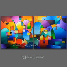 original abstract modern landscape made abstract paintings acrylic paintings geometric landscape