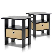 end table set of 2 furinno home living espresso storage end table set of 2 2 11157ex