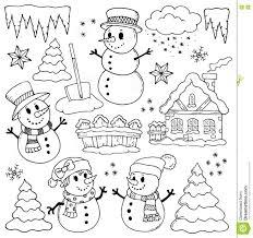 theme line winter winter theme drawings 2 stock vector illustration of black 80380244