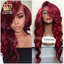 mix wine red with bright red highlights synthetic lace front wig