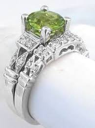 Birthstone Wedding Rings by Peridot Engagement Ring In 14k White Gold With Matching Band