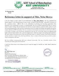 Recommendation Letter recommendation letter mrutyunjay suar sir kiit