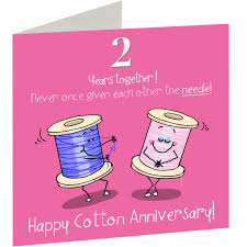 2nd wedding anniversary 2nd wedding cotton anniversary card