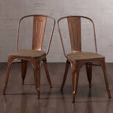 Wooden Bistro Chairs Tabouret Brushed Copper Wood Seat Bistro Chairs Set