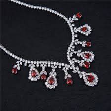 earring necklace ruby images Exquisite ruby necklace earring set cubic zircon bridal jewelry jpg
