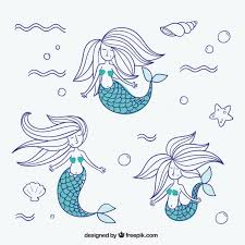 sketches mermaids pack vector free download