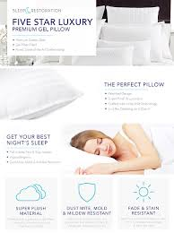 How To Make A Duvet Cover Stay Amazon Com Sleep Restoration Gel Pillow U2013 2 Pack Queen Best